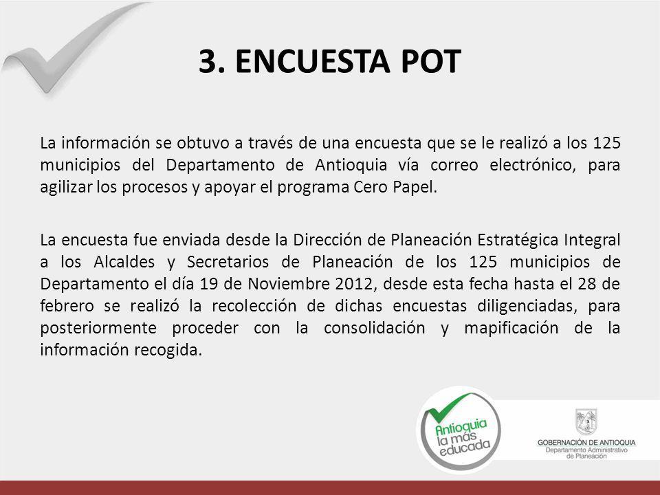 La información se obtuvo a través de una encuesta que se le realizó a los 125 municipios del Departamento de Antioquia vía correo electrónico, para ag