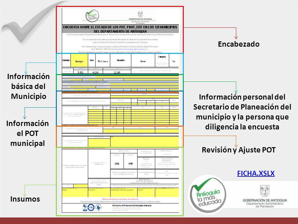 Encabezado Información personal del Secretario de Planeación del municipio y la persona que diligencia la encuesta Revisión y Ajuste POT Información b