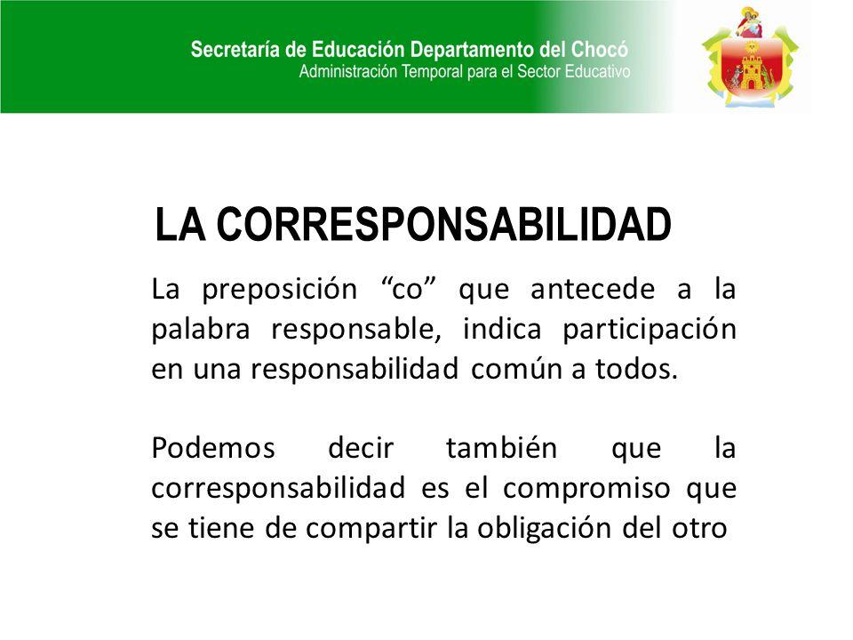 La preposición co que antecede a la palabra responsable, indica participación en una responsabilidad común a todos. Podemos decir también que la corre