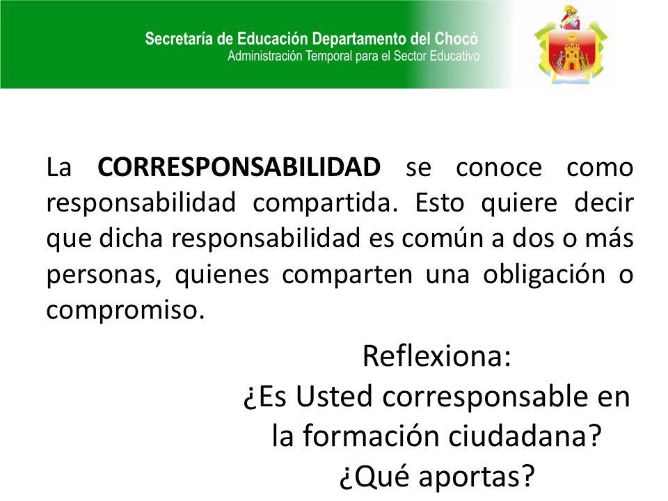 La CORRESPONSABILIDAD se conoce como responsabilidad compartida. Esto quiere decir que dicha responsabilidad es común a dos o más personas, quienes co