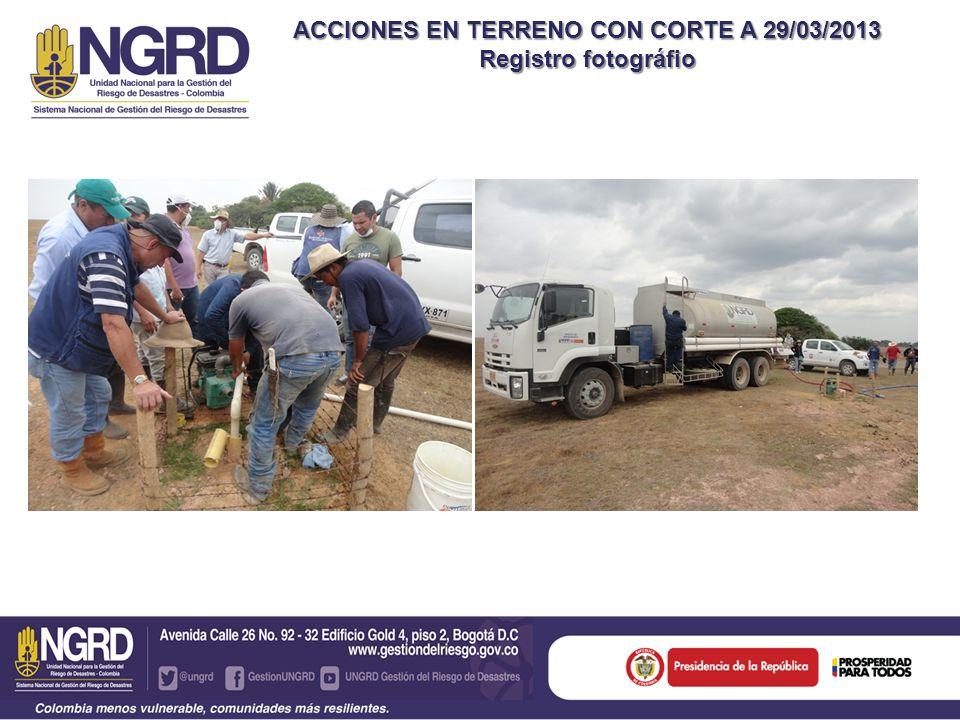 ACCIONES EN TERRENO CON CORTE A 29/03/2013 Registro fotográfio