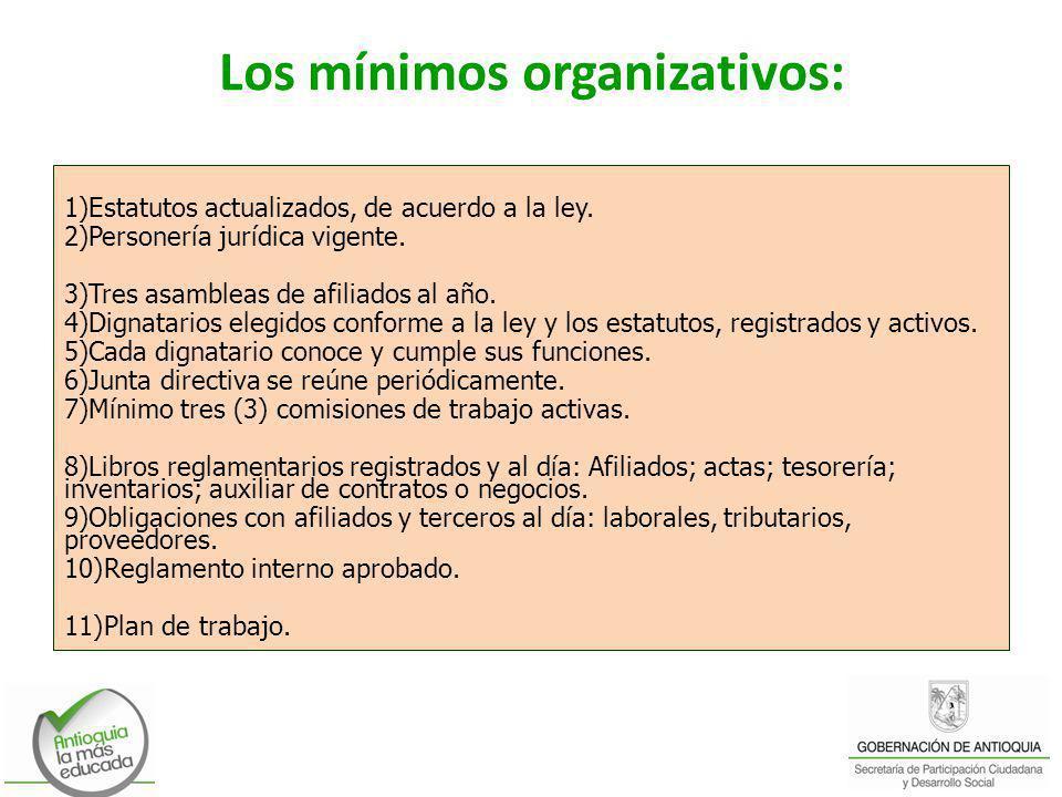 Los mínimos organizativos: 1)Estatutos actualizados, de acuerdo a la ley. 2)Personería jurídica vigente. 3)Tres asambleas de afiliados al año. 4)Digna