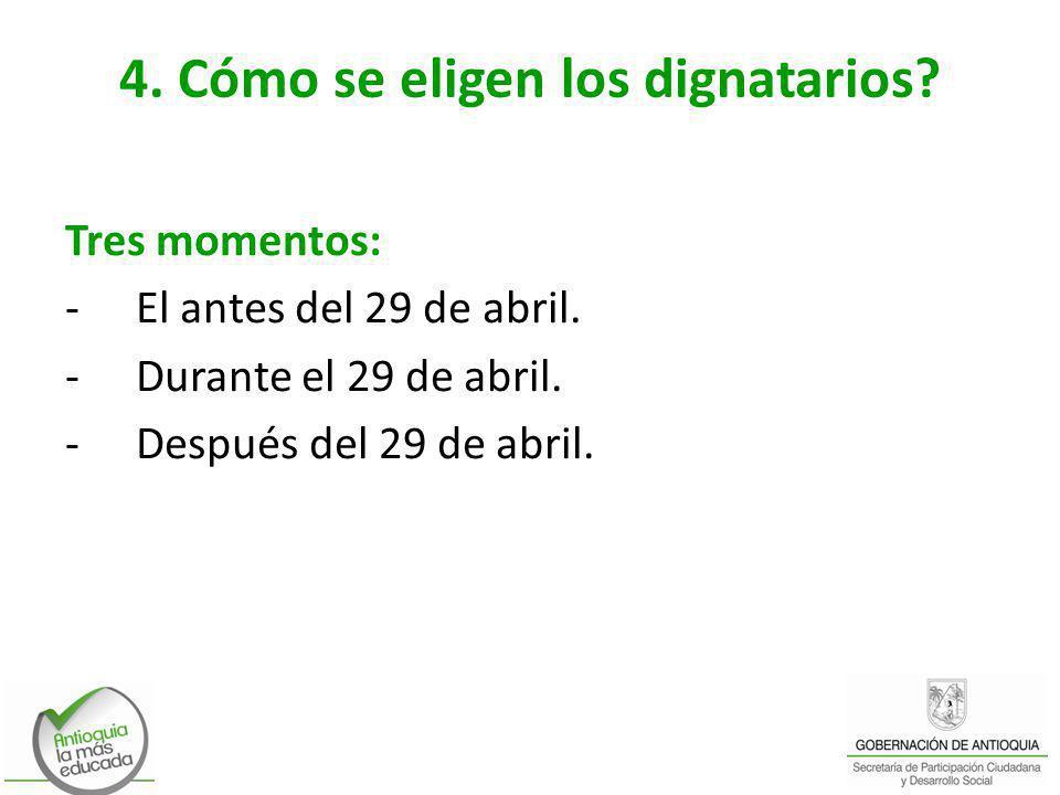 4. Cómo se eligen los dignatarios? Tres momentos: -El antes del 29 de abril. -Durante el 29 de abril. -Después del 29 de abril.