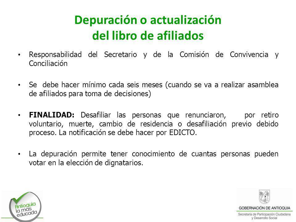 Depuración o actualización del libro de afiliados Responsabilidad del Secretario y de la Comisión de Convivencia y Conciliación Se debe hacer mínimo c