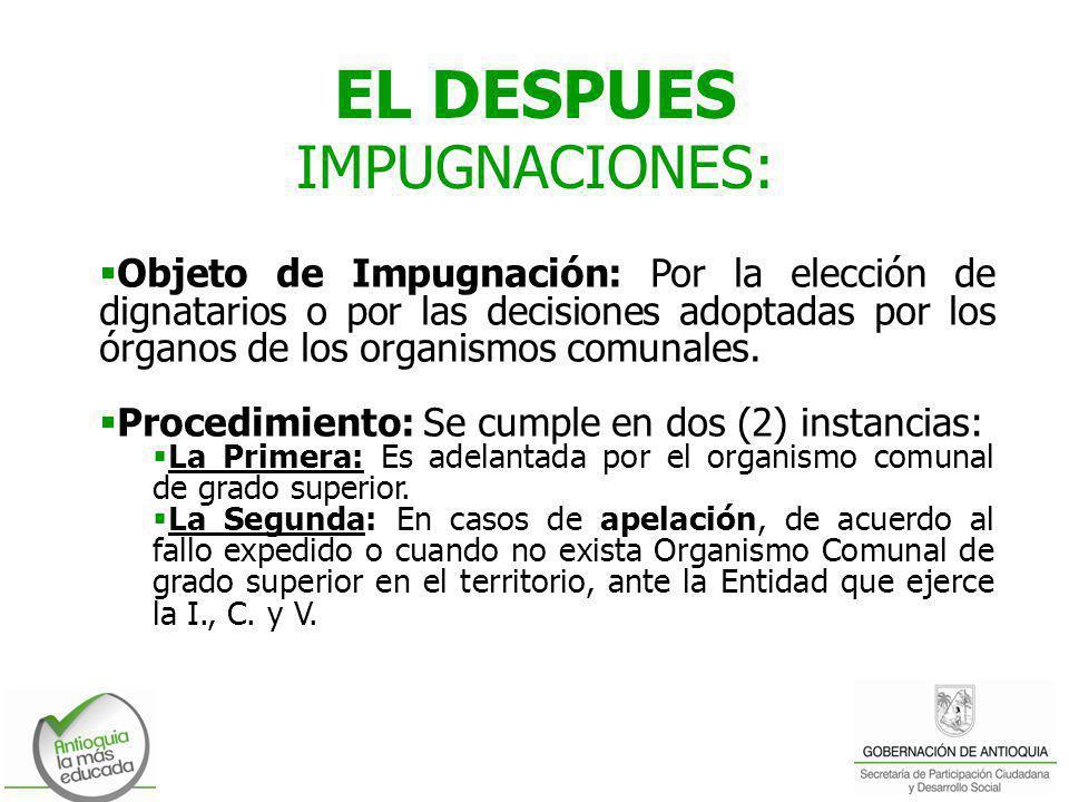 EL DESPUES IMPUGNACIONES: Objeto de Impugnación: Por la elección de dignatarios o por las decisiones adoptadas por los órganos de los organismos comun