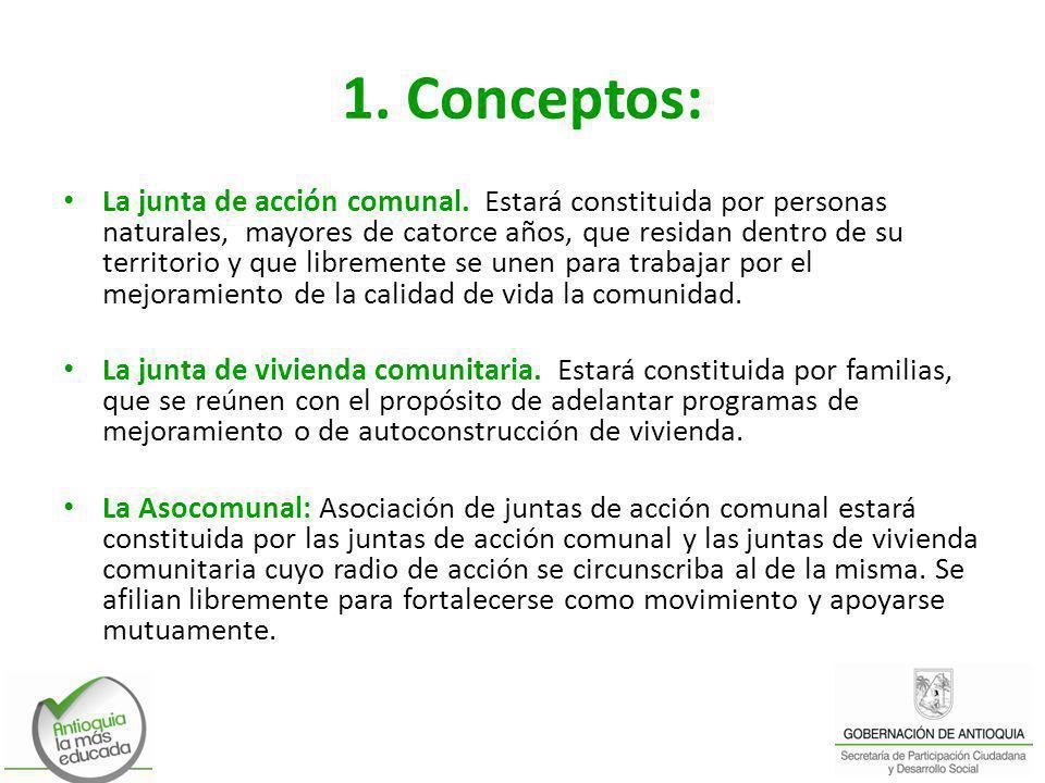 1. Conceptos: La junta de acción comunal. Estará constituida por personas naturales, mayores de catorce años, que residan dentro de su territorio y qu