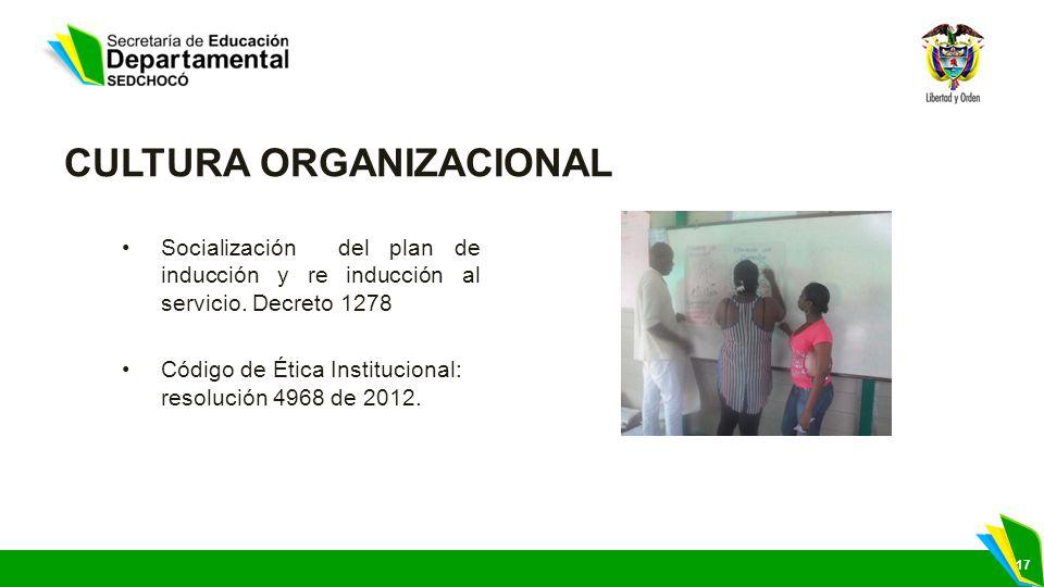 17 CULTURA ORGANIZACIONAL Socialización del plan de inducción y re inducción al servicio. Decreto 1278 Código de Ética Institucional: resolución 4968