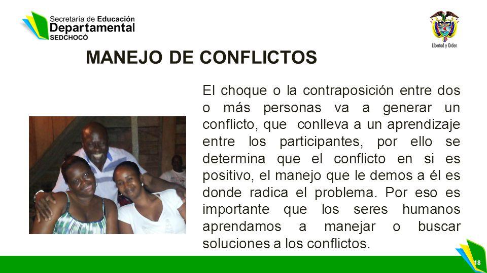 18 MANEJO DE CONFLICTOS El choque o la contraposición entre dos o más personas va a generar un conflicto, que conlleva a un aprendizaje entre los part