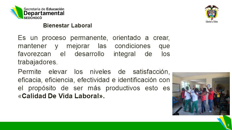 3 Bienestar Laboral Es un proceso permanente, orientado a crear, mantener y mejorar las condiciones que favorezcan el desarrollo integral de los traba