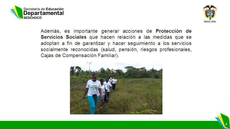 4 Además, es importante generar acciones de Protección de Servicios Sociales que hacen relación a las medidas que se adoptan a fin de garantizar y hac