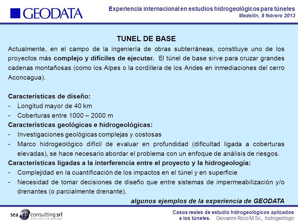 Casos reales de estudio hidrogeológicos aplicados a los túneles.
