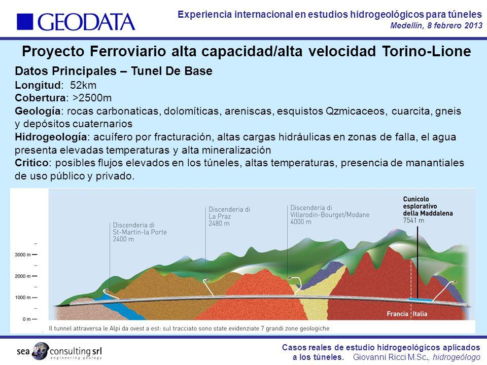 Casos reales de estudio hidrogeológicos aplicados a los túneles. Giovanni Ricci M.Sc., hidrogeólogo Experiencia internacional en estudios hidrogeológi