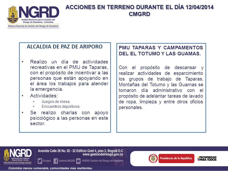 ACCIONES EN TERRENO DURANTE EL DÍA 12/04/2014 CMGRD ALCALDIA DE PAZ DE ARIPORO Realizo un día de actividades recreativas en el PMU de Taparas, con el propósito de incentivar a las personas que están apoyando en el área los trabajos para atender la emergencia.