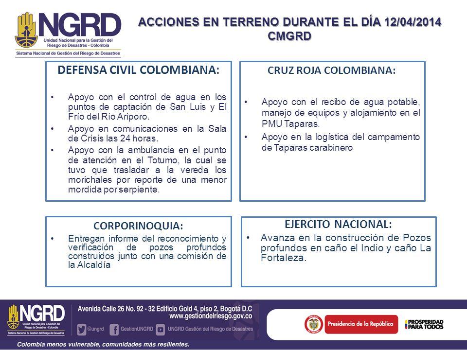 CRUZ ROJA COLOMBIANA: Apoyo con el recibo de agua potable, manejo de equipos y alojamiento en el PMU Taparas. Apoyo en la logística del campamento de