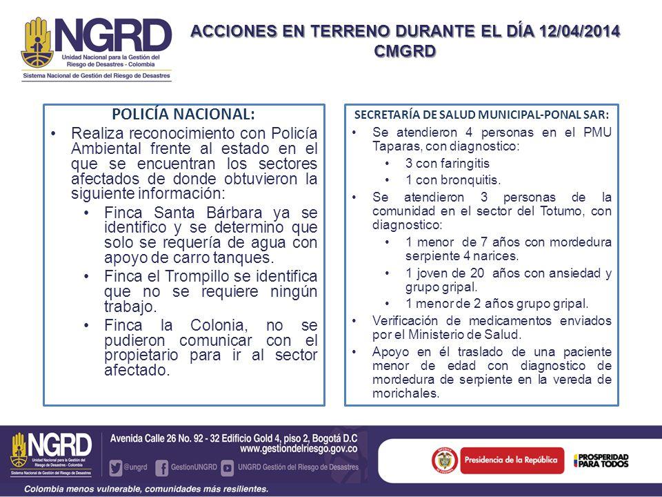 SECRETARÍA DE SALUD MUNICIPAL-PONAL SAR: Se atendieron 4 personas en el PMU Taparas, con diagnostico: 3 con faringitis 1 con bronquitis. Se atendieron