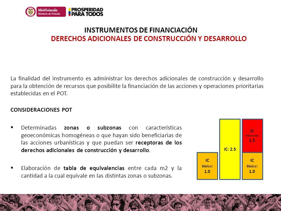 IC Básico : 1.0 IC: 2.5 IC Básico : 1.0 IC Adicional 1.5 La finalidad del instrumento es administrar los derechos adicionales de construcción y desarr