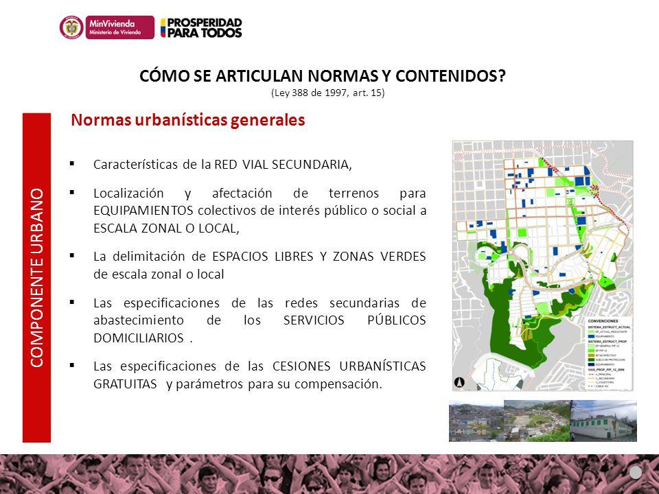 Características de la RED VIAL SECUNDARIA, Localización y afectación de terrenos para EQUIPAMIENTOS colectivos de interés público o social a ESCALA ZO