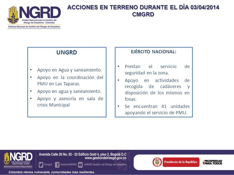 ACCIONES EN TERRENO DURANTE EL DÍA 03/04/2014 CMGRD UNGRD Apoyo en Agua y saneamiento. Apoyo en la coordinación del PMU en Las Taparas. Apoyo en agua