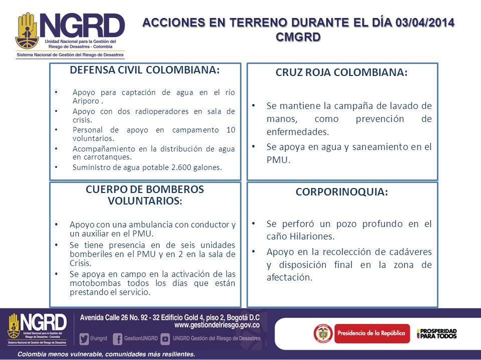 DEFENSA CIVIL COLOMBIANA: Apoyo para captación de agua en el río Ariporo. Apoyo con dos radioperadores en sala de crisis. Personal de apoyo en campame