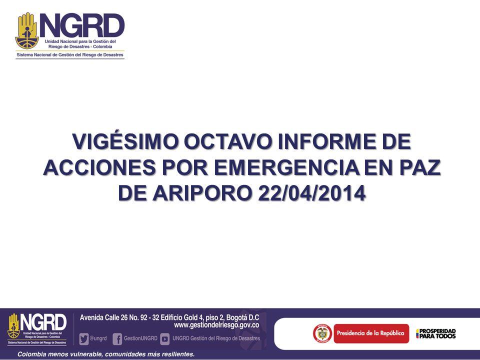 VIGÉSIMO OCTAVO INFORME DE ACCIONES POR EMERGENCIA EN PAZ DE ARIPORO 22/04/2014