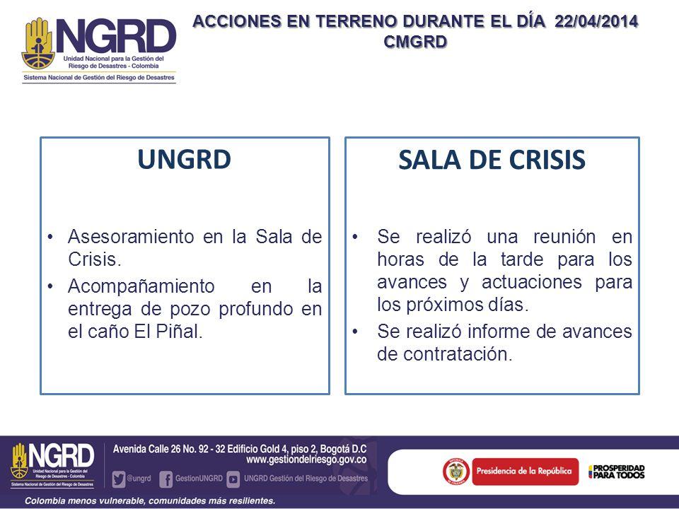 ACCIONES EN TERRENO DURANTE EL DÍA 22/04/2014 CMGRD UNGRD Asesoramiento en la Sala de Crisis.