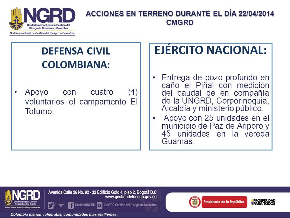 ACCIONES EN TERRENO DURANTE EL DÍA 22/04/2014 CMGRD DEFENSA CIVIL COLOMBIANA: Apoyo con cuatro (4) voluntarios el campamento El Totumo.