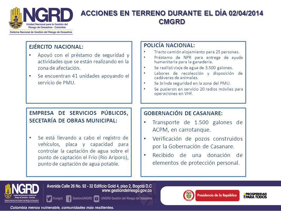 EJÉRCITO NACIONAL: Apoyó con el préstamo de seguridad y actividades que se están realizando en la zona de afectación.