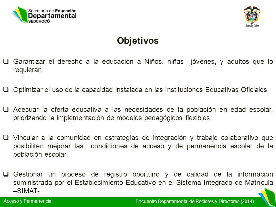Acceso y Permanencia Encuentro Departamental de Rectores y Directores (2014) Garantizar el derecho a la educación a Niños, niñas jóvenes, y adultos qu