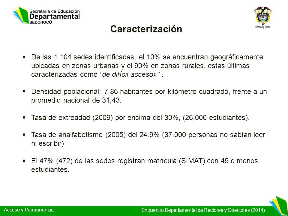 Acceso y Permanencia Encuentro Departamental de Rectores y Directores (2014) Caracterización De las 1.104 sedes identificadas, el 10% se encuentran ge