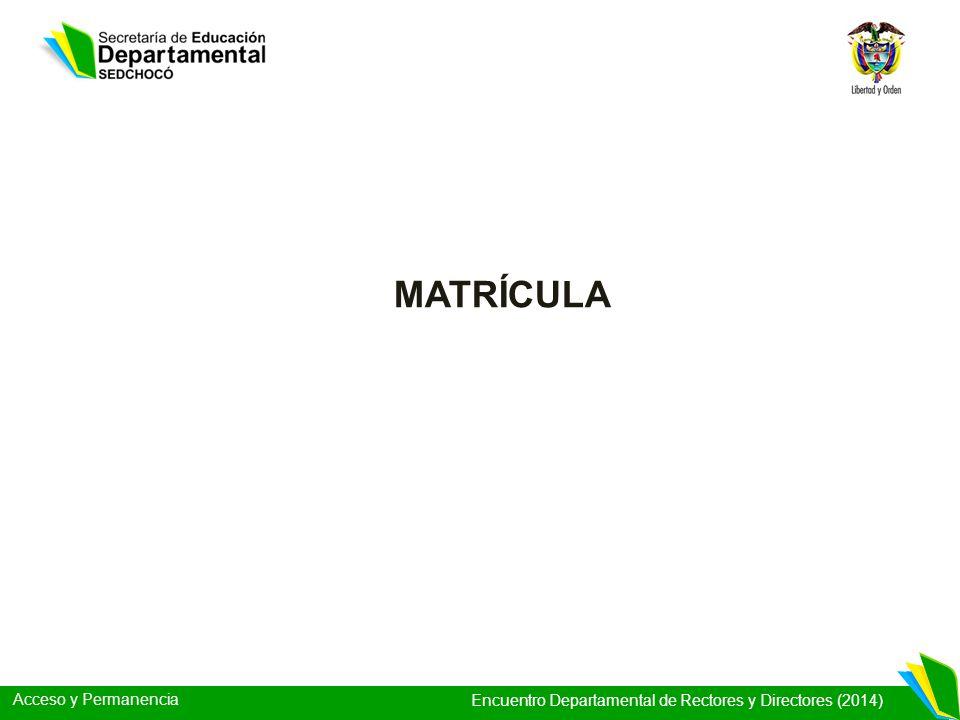 Acceso y Permanencia Encuentro Departamental de Rectores y Directores (2014) MATRÍCULA