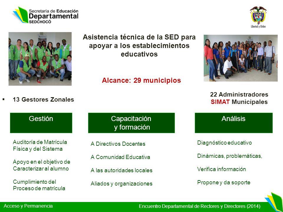 Acceso y Permanencia Encuentro Departamental de Rectores y Directores (2014) 13 Gestores Zonales Asistencia técnica de la SED para apoyar a los establ