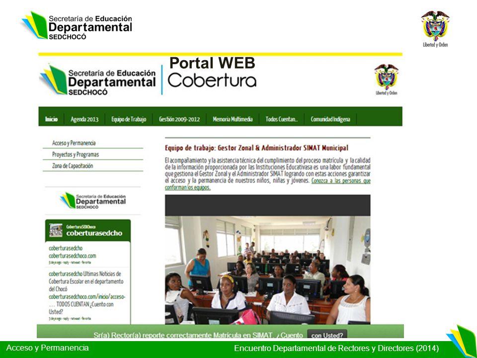 Acceso y Permanencia Encuentro Departamental de Rectores y Directores (2014) Portal WEB