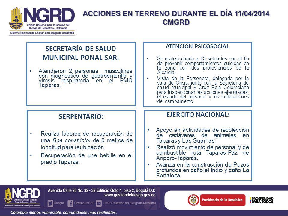 SECRETARÍA DE SALUD MUNICIPAL-PONAL SAR: Atendieron 2 personas masculinas con diagnostico de gastroenteritis y virosis respiratoria en el PMU Taparas.