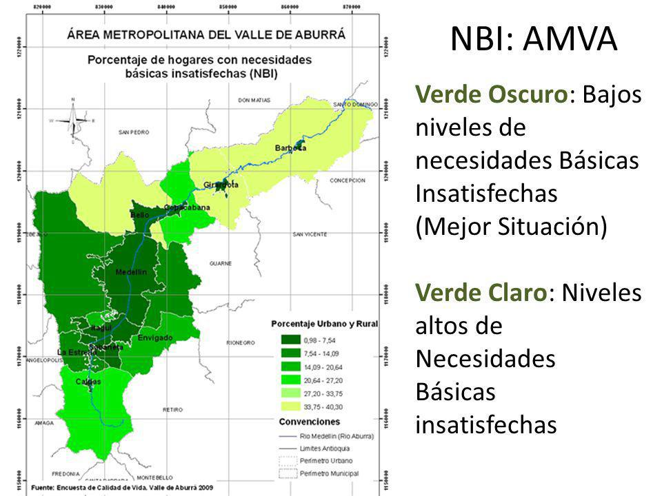 NBI: AMVA Verde Oscuro: Bajos niveles de necesidades Básicas Insatisfechas (Mejor Situación) Verde Claro: Niveles altos de Necesidades Básicas insatis