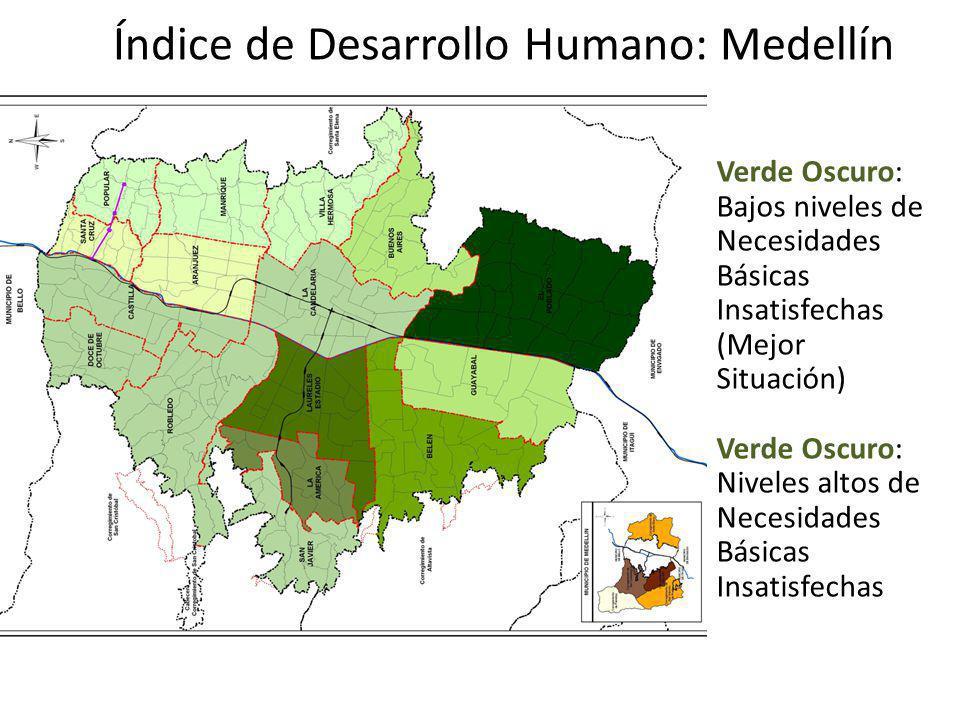 Índice de Desarrollo Humano: Medellín Verde Oscuro: Bajos niveles de Necesidades Básicas Insatisfechas (Mejor Situación) Verde Oscuro: Niveles altos d