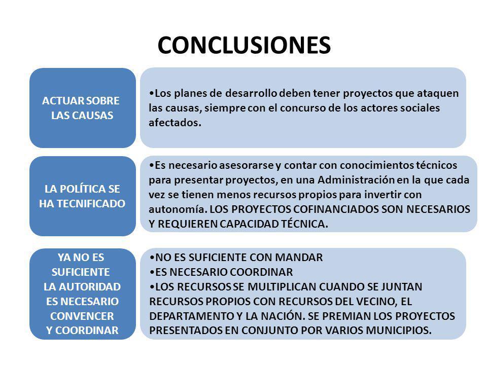 CONCLUSIONES ACTUAR SOBRE LAS CAUSAS Los planes de desarrollo deben tener proyectos que ataquen las causas, siempre con el concurso de los actores soc
