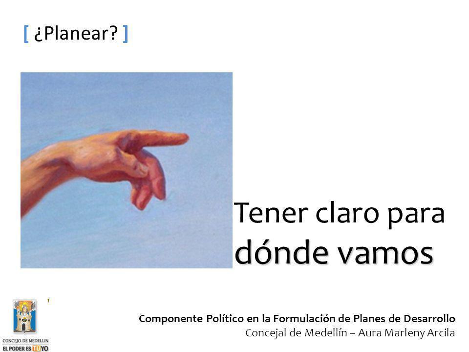 Componente Político en la Formulación de Planes de Desarrollo Concejal de Medellín – Aura Marleny Arcila [ ¿Planear? ] dónde vamos Tener claro para dó