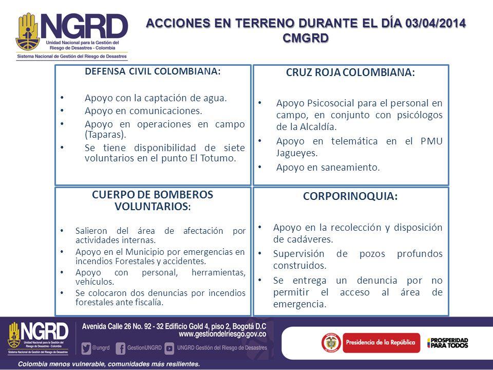 DEFENSA CIVIL COLOMBIANA: Apoyo con la captación de agua.