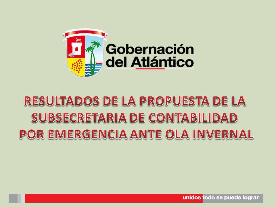 La Subsecretaria de Contabilidad elaboro un documento con propuestas para la operatividad de los Municipios que fueron afectados por la ola invernal en la vigencia 2011.