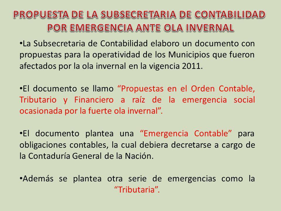 La Subsecretaria de Contabilidad elaboro un documento con propuestas para la operatividad de los Municipios que fueron afectados por la ola invernal e