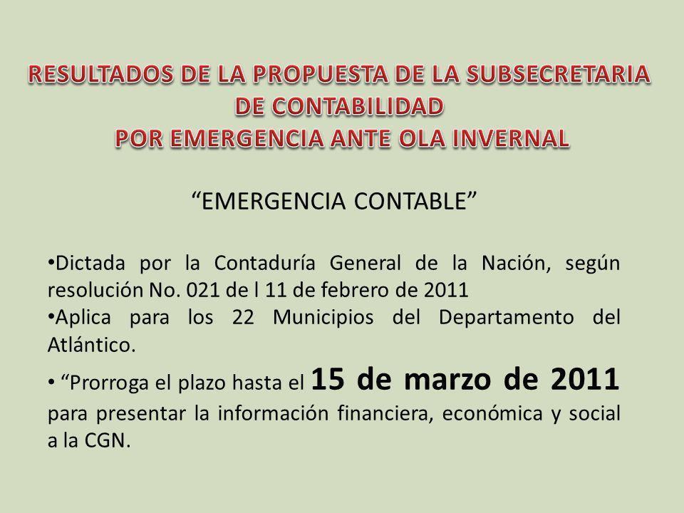 EMERGENCIA CONTABLE Dictada por la Contaduría General de la Nación, según resolución No. 021 de l 11 de febrero de 2011 Aplica para los 22 Municipios