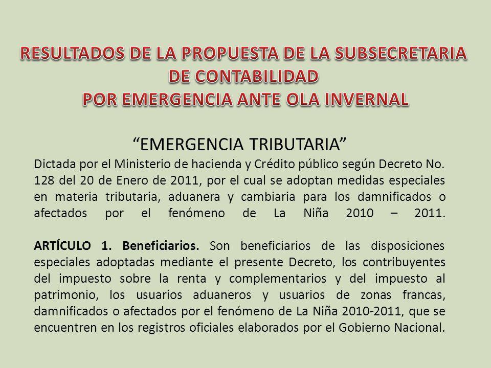 EMERGENCIA TRIBUTARIA Dictada por el Ministerio de hacienda y Crédito público según Decreto No. 128 del 20 de Enero de 2011, por el cual se adoptan me