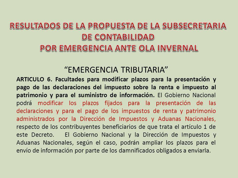 EMERGENCIA TRIBUTARIA ARTICULO 6. Facultades para modificar plazos para la presentación y pago de las declaraciones del impuesto sobre la renta e impu