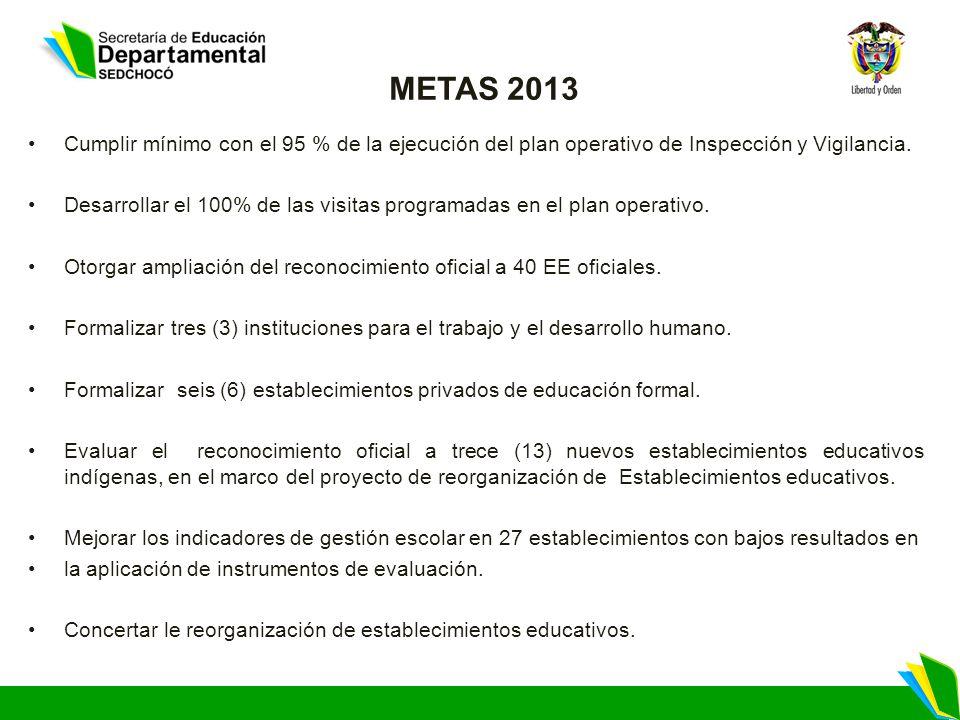 METAS 2013 Cumplir mínimo con el 95 % de la ejecución del plan operativo de Inspección y Vigilancia.