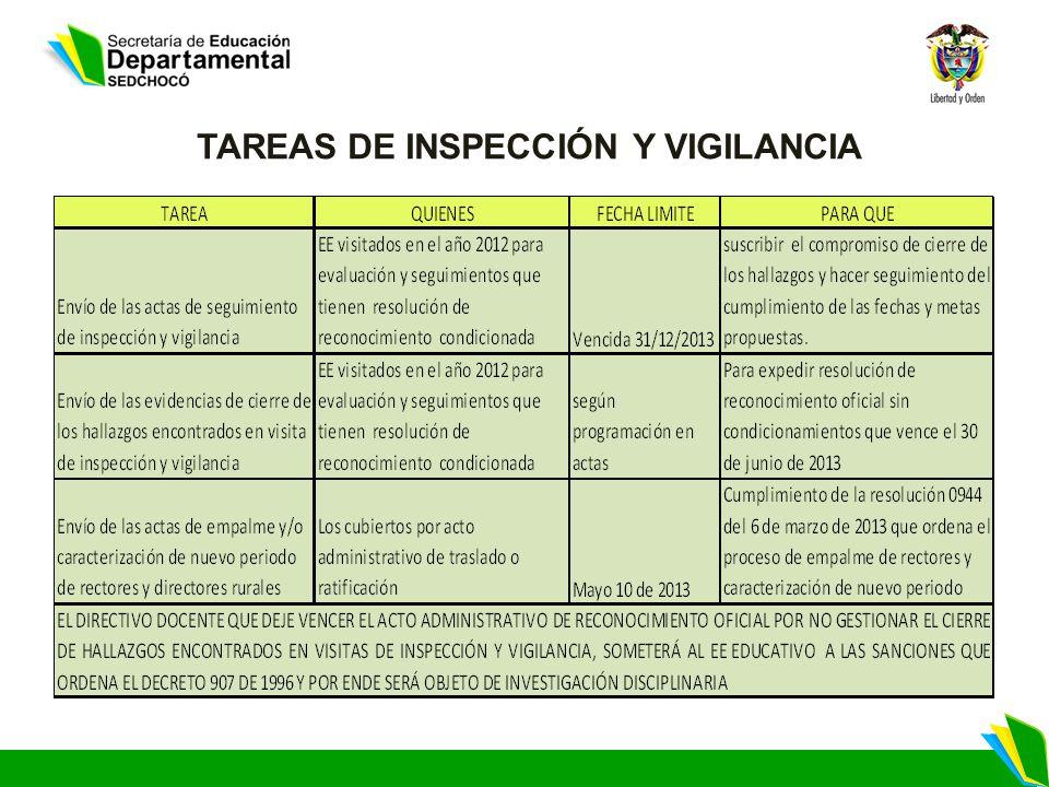 TAREAS DE INSPECCIÓN Y VIGILANCIA