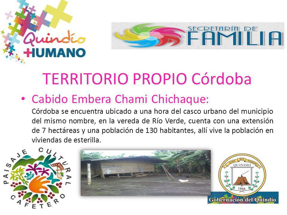 TERRITORIO PROPIO Córdoba Cabido Embera Chami Chichaque: El asentamiento de Córdoba se encuentra ubicado a una hora del casco urbano del municipio del