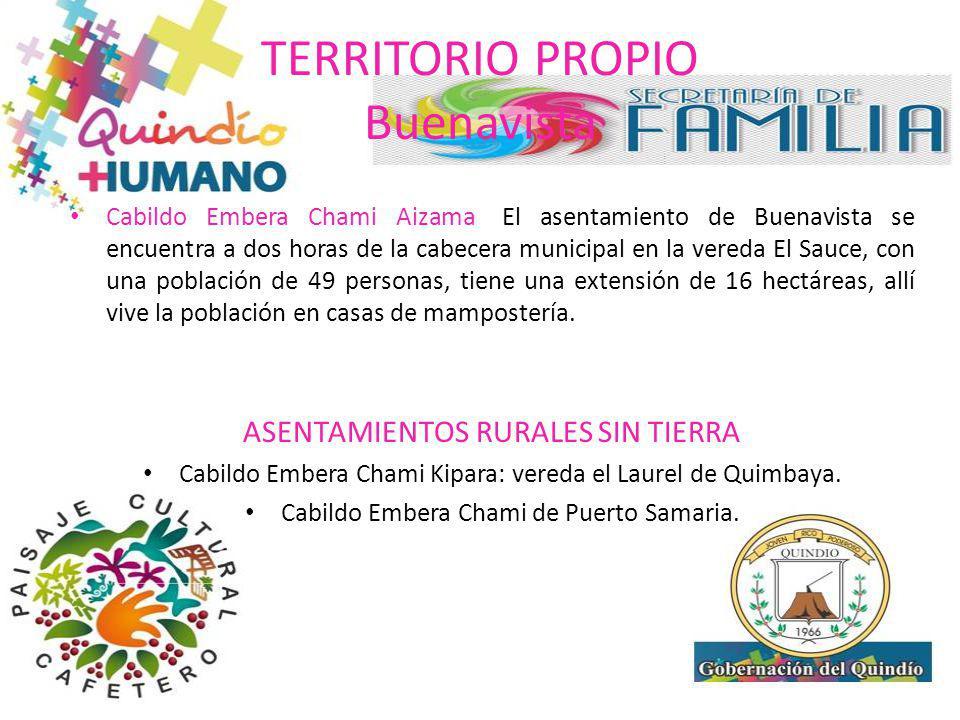 TERRITORIO PROPIO Buenavista Cabildo Embera Chami Aizama: El asentamiento de Buenavista se encuentra a dos horas de la cabecera municipal en la vereda