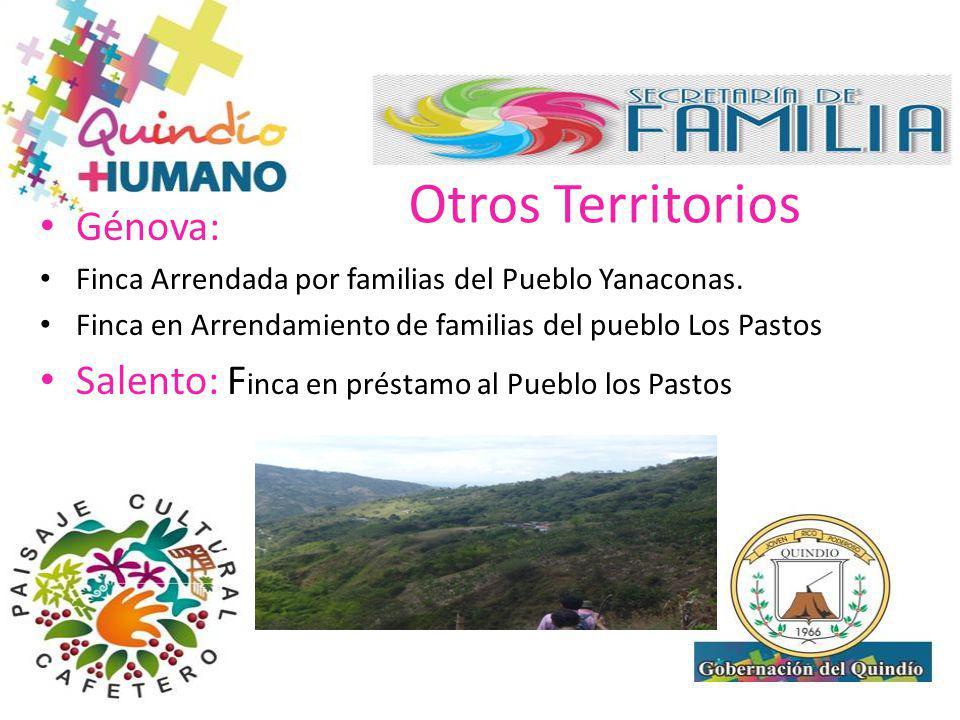 Otros Territorios Génova: Finca Arrendada por familias del Pueblo Yanaconas. Finca en Arrendamiento de familias del pueblo Los Pastos Salento: F inca