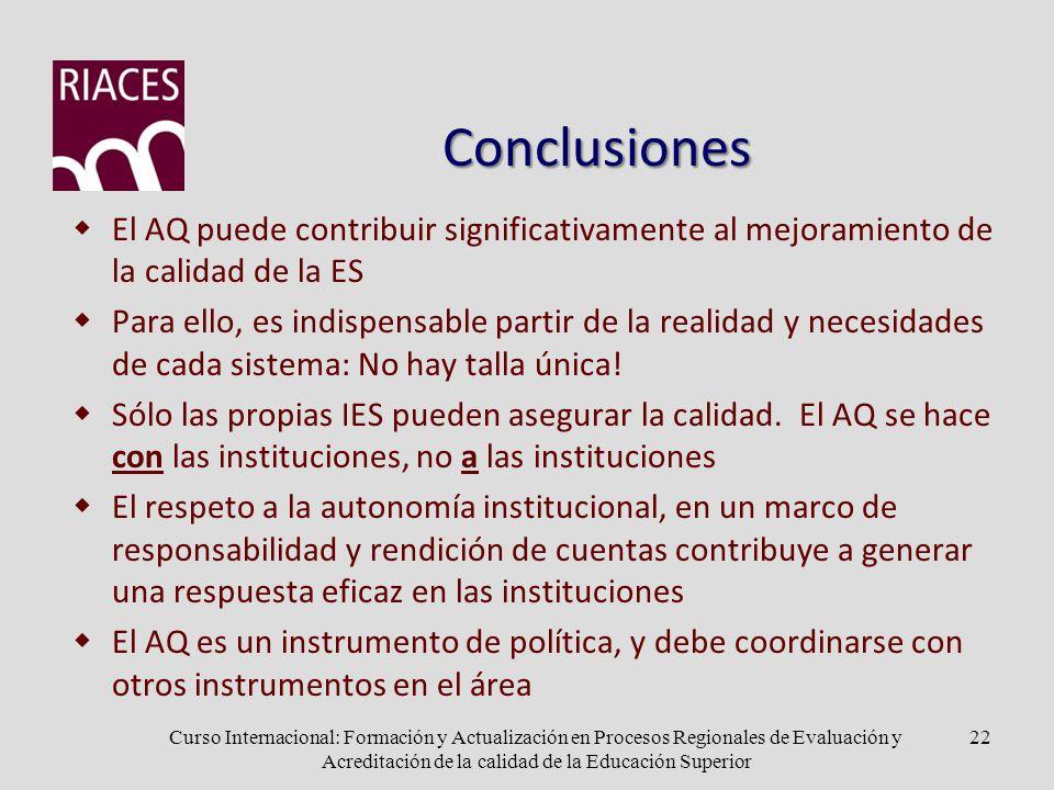 Conclusiones El AQ puede contribuir significativamente al mejoramiento de la calidad de la ES Para ello, es indispensable partir de la realidad y necesidades de cada sistema: No hay talla única.