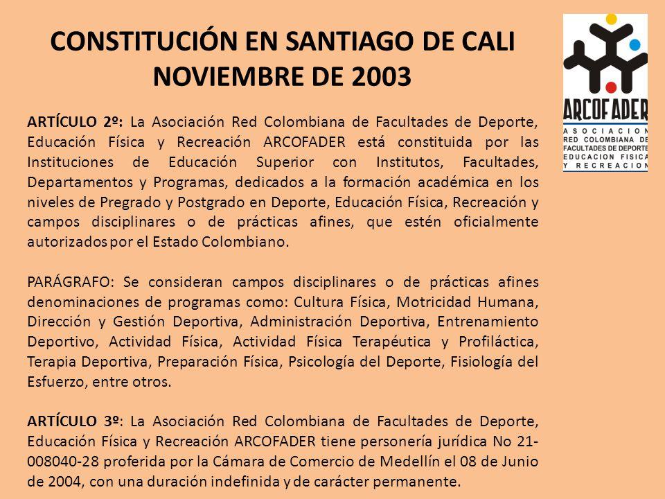 CONSTITUCIÓN EN SANTIAGO DE CALI NOVIEMBRE DE 2003 ARTÍCULO 2º: La Asociación Red Colombiana de Facultades de Deporte, Educación Física y Recreación ARCOFADER está constituida por las Instituciones de Educación Superior con Institutos, Facultades, Departamentos y Programas, dedicados a la formación académica en los niveles de Pregrado y Postgrado en Deporte, Educación Física, Recreación y campos disciplinares o de prácticas afines, que estén oficialmente autorizados por el Estado Colombiano.